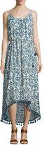 Love Sam Lena Sleeveless Ikat-Print Midi Dress, Denim/Ecru