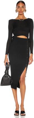 Self-Portrait Viscose Rib Knit Midi Dress in Black | FWRD