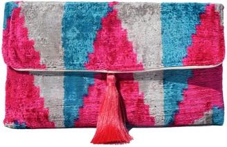 Punica Bright Pink & Blue Ikat Clutch