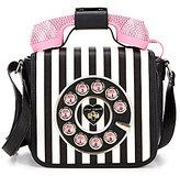 Betsey Johnson Rhinestone Telephone Striped Cross-Body Bag