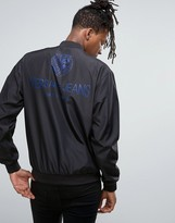 Versace Bomber Jacket In Black With Back Print