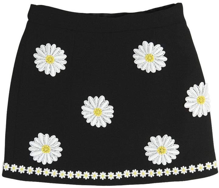 Dolce & Gabbana Daisy Embroidered Wool Crepe Skirt