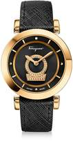 Salvatore Ferragamo Minuetto Gold IP Stainless Steel Women's Watch w/Black Saffiano Leather Strap