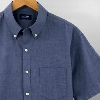 Tie Bar Solid Cotton Blue Short Sleeve Shirt