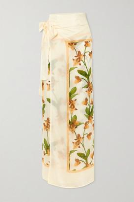 Agua Bendita Lavanda Floral-print Satin Pareo - Cream