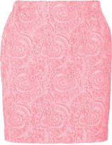 Julien David Jacquard and twill mini skirt