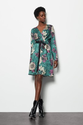 Karen Millen Satin Printed Wrap Dress