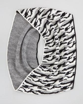 Diane von Furstenberg Darrene Animal Cashmere Scarf, Black/White/Gray
