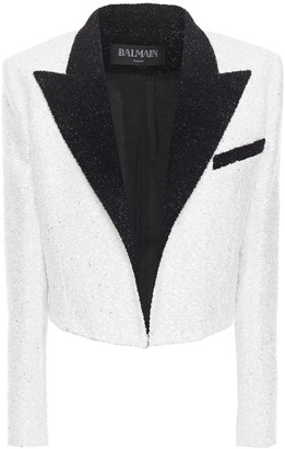 Balmain Cropped Embellished Chenille And Tinsel Blazer