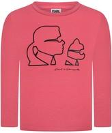 Karl Lagerfeld Girls Pink Choupette Print Top