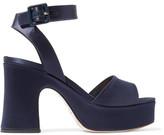 Miu Miu Satin Platform Sandals - Midnight blue
