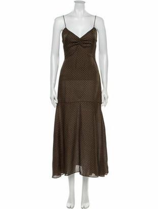 Alexis Polka Dot Print Long Dress Green
