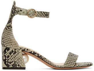 Nicholas Kirkwood Grey and Black Snake Miri 55 Sandals