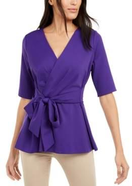 Alfani Petite Faux-Wrap Elbow-Sleeve Top, Created For Macy's