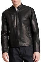 John Varvatos Collection Short Zip Leather Jacket