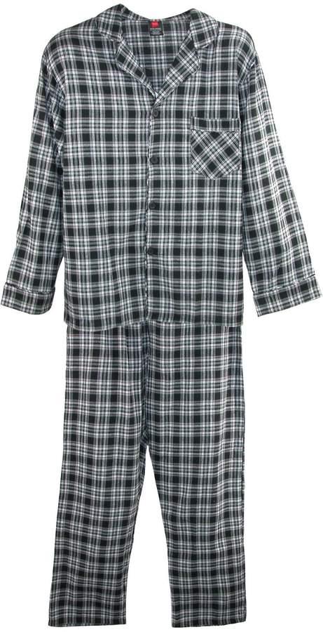 Hanes Men's Big and Tall Cotton Flannel Pajama Set