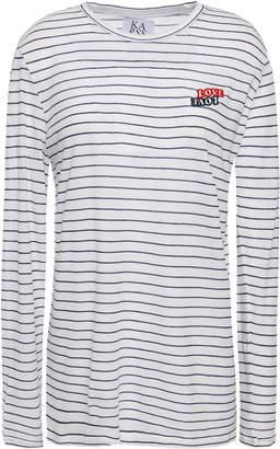 Zoe Karssen Love Love Appliqued Striped Cotton-jersey T-shirt