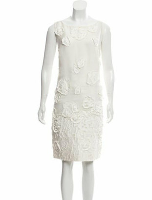 Oscar de la Renta Sleeveless Knee-Length Dress white