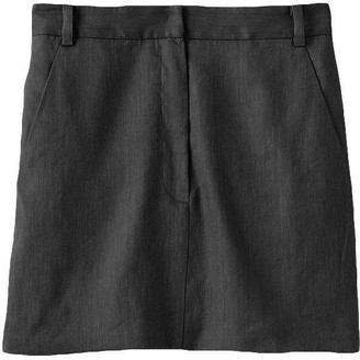 Tibi Wesson Linen High Waisted Mini Skirt in Storm Grey