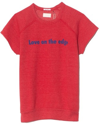 Mother The Cut Off Hugger Tee in Mars Red Love On The Edge