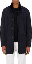 Giorgio Armani Men's Shearling Long Coat-NAVY, BLACK