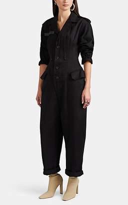 Yohji Yamamoto Regulation Women's Cotton Button-Front Jumpsuit - Black