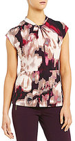 Calvin Klein Watercolor Floral Print Matte Jersey Knot Neck Cap Sleeve Top