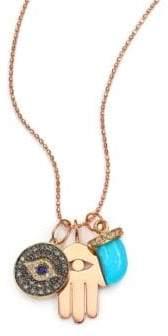 Sydney Evan Turquoise, Sapphire, Multicolor Diamond& 14K Rose Gold Spiritual Trio Charm Necklace