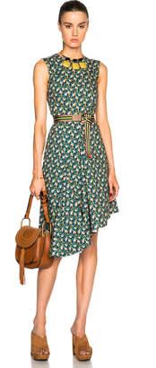 Marni Asymmetrical Printed Dress in Dragon Green   FWRD