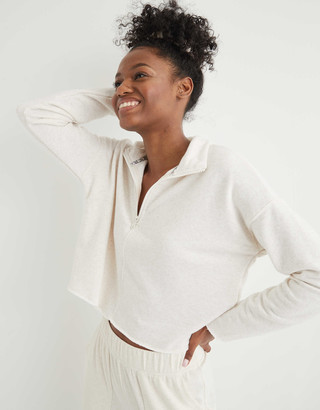 aerie Sunday Soft Cropped Quarter Zip Sweatshirt