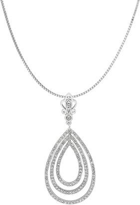 Savvy Cie Sterling Silver Pear Shape Pave CZ Crown Pendant Necklace