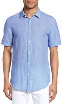 HUGO BOSS Ronn Extra Slim Fit Print Linen Sport Shirt