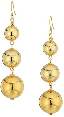 Kenneth Jay Lane Polished Gold 3 Small To Large Bead Drop Fishhook Top Ear Earrings (Polished Gold) Earring
