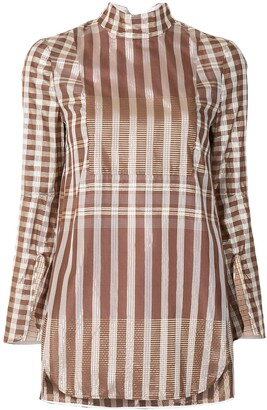 Mame Kurogouchi Gingham Semi-Sheer Blouse