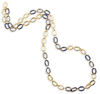 Sylva & Cie Denim 18K Yellow Gold, Sterling Silver & Sapphire Oval-Link Necklace