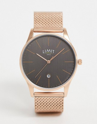 Limit mesh watch in rose gold with grey dial