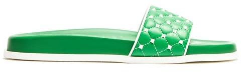 Valentino Free Rockstud Leather Slides - Womens - Green White