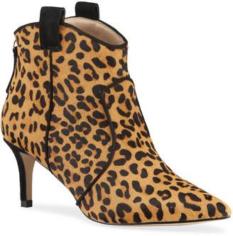 Allegra James Rachel Leopard-Print Fur Ankle Booties