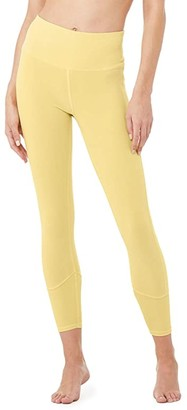 Alo 7/8 High-Waisted Sueded Lounge Leggings (Sulphur Wash) Women's Casual Pants