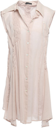 Ann Demeulemeester Shirred-trimmed Cotton And Cashmere-blend Gauze Tunic
