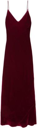 Les Rêveries Satin-trimmed Velvet Maxi Slip Dress