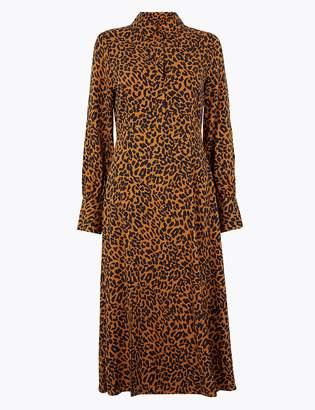 M&S CollectionMarks and Spencer Animal Print Shirt Midi Dress