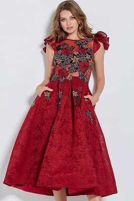 Jovani Burgundy Floral Embroidered Cocktail Dress