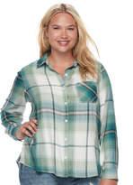 Mudd Juniors' Plus Size Plaid Flannel Shirt