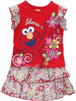 Children's Apparel Network Sesame Street Red Floral 'Elmo' Top & Skirt - Infant