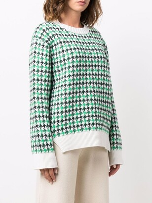 Barrie Houndstooth-Print Cashmere Pullover