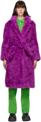 MSGM Purple Double-Breasted Eco-Fur Coat