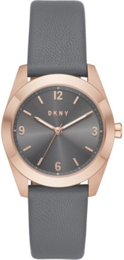 DKNY Women's Nolita Gray Leather Strap Watch 34mm