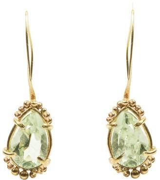 Lily Flo Jewellery Parissa Green Amethyst Drop Earrings On Solid Gold