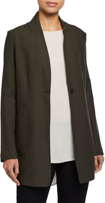Eileen Fisher Stand-Collar Long Washable Stretch Crepe Jacket
